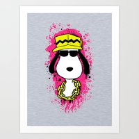 snoopy Art Prints featuring Snoopy Dog by Mateus Quandt