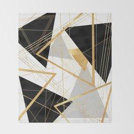 Black and Gold Geometric Throw Blanket