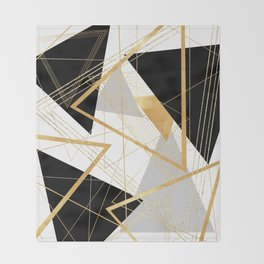 Black and Gold Geometric Throw Blanket