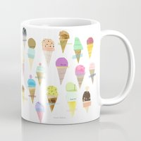 ice cream Mugs featuring Ice cream  by maria carluccio