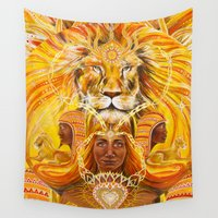 lions Wall Tapestries featuring Lions Heart by Kylee Joy