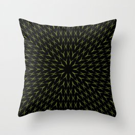 PCT2 Fractal in Yellow on Black Throw Pillow