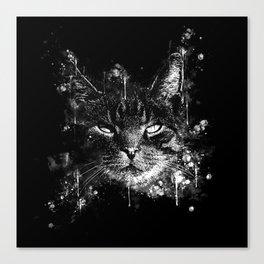cat eyes splatter watercolor black white Canvas Print