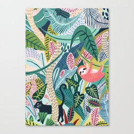 Jungle Sloth & Panther Pals Canvas Print
