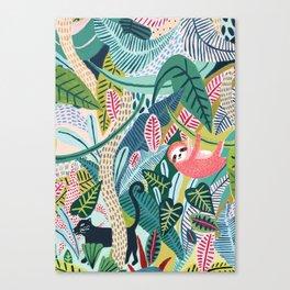 Jungle Sloth & Panther Pals Canvas Print