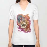 gemma correll V-neck T-shirts featuring Rat Calaveria by Gemma Pallat by ToraSumi