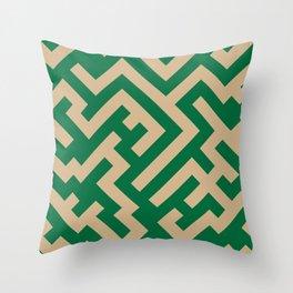 Tan Brown and Cadmium Green Diagonal Labyrinth Throw Pillow