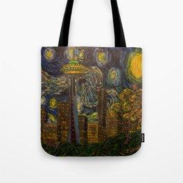 Dedication to Van Gogh: Seattle Starry Night Tote Bag