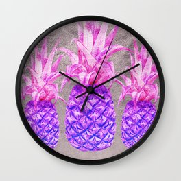 Pineapple on silver Wall Clock