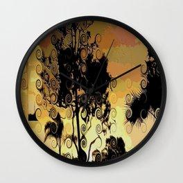 Winter sunset trees Wall Clock
