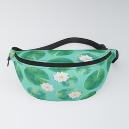 Lily Pads & White Water Lily Flowers Fanny Pack