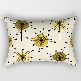 Atomic Era Sputnik Starburst Flowers Light Yellow Rectangular Pillow