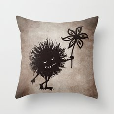 Evil Bug Gives Flower Throw Pillow