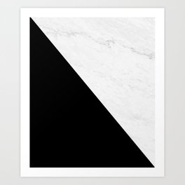 Marble And Black Diagonal Art Print