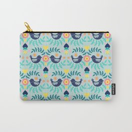 Folky Pattern Light Blue Carry-All Pouch