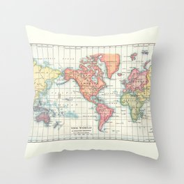 World Map - Colorful Continents Throw Pillow