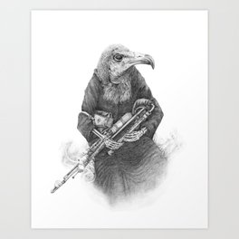 Hooded Vulture with Uilleann Pipes by Pia Tham Art Print