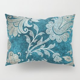 Aqua Teal Vintage Floral Damask Pattern Pillow Sham
