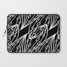 White molecular helix with diagonal circles on a black background. Laptop Sleeve