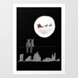 Two Brishtail Possums watching Father Christmas Art Print