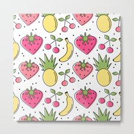 cute heart strawberries, cherries, pineapples and banana pattern background Metal Print