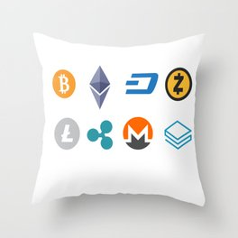 Cryptocurrencies Throw Pillow