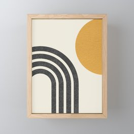 Mid century modern Sun & Rainbow Framed Mini Art Print