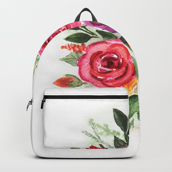 Watercolor floral pattern . Roses. Backpack