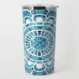 Mandala Aqua Turquoise Colorburst Travel Mug