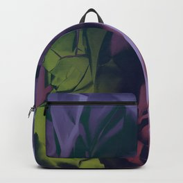 Deep Purple and Green Abstract Backpack