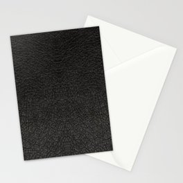 Black Leather Realistic Print Stationery Cards