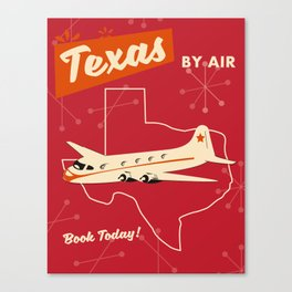 Texas By air vintage poster Canvas Print