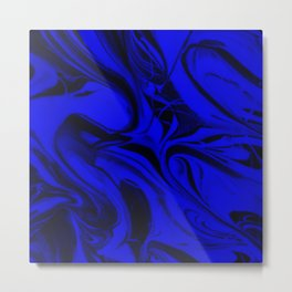 Black and Blue Swirl - Abstract, blue and black mixed paint pattern texture Metal Print
