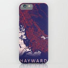 Hayward, CA, USA, Blue, White, City, Map iPhone Case