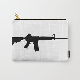 AR15 in black silhouette on white Carry-All Pouch