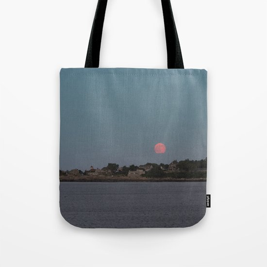 Full Strawberry Moon Rising over Rockport Tote Bag