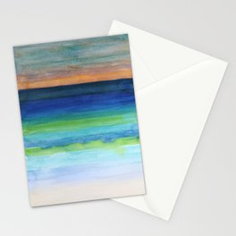 White Beach at Sunset Stationery Cards