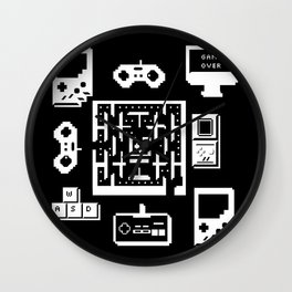 Geek Gamer Pattern Wall Clock