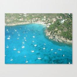 St Baarths boats aerial view Canvas Print