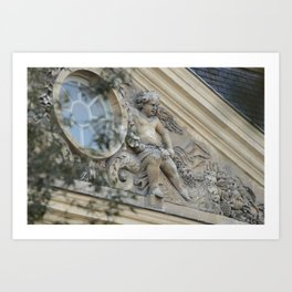 Baroque angel on Parisian mansion facade Art Print