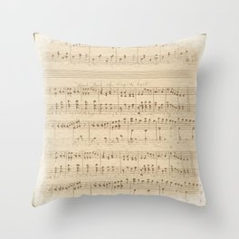 vintage beige music notes Throw Pillow