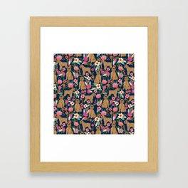 Brussels Griffon florals pattern for dog lovers custom pet friendly gifts for all dog breeds Framed Art Print