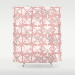Mid Century Modern Atomic Rings Pattern Dusty Rose Shower Curtain