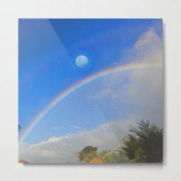Rainbow Moon-Crystal Ball Metal Print