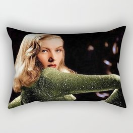 Classic Veronica Lake Portrait in Green - Jeanpaul Ferro Rectangular Pillow