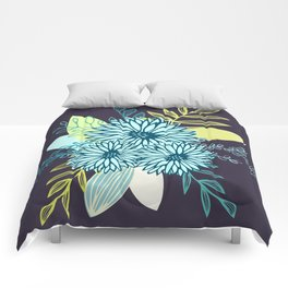 Winter Flowers in Peacock Comforters