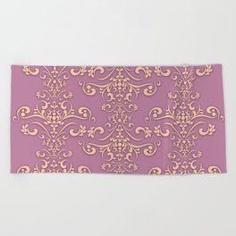 Rococo tapestry - Purple and beige Beach Towel