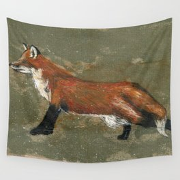 Stretching Fox Wall Tapestry