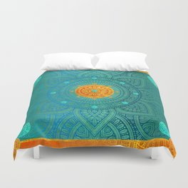 """Turquoise and Gold Mandala"" Duvet Cover"