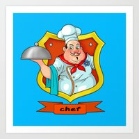 chef Art Prints featuring chef by Fargon